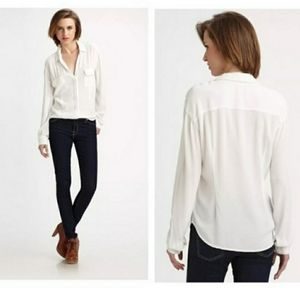 James Perse Utility Crepe Off White Blouse Size 2